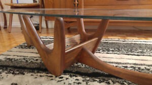 Mid Century Adrian Pearsall biomorphic glass topped coffee table