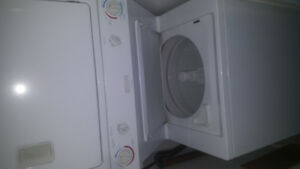 White stacked washer/dryer