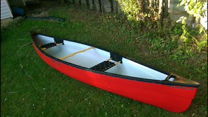 14 ft canoe with trolling motor, battery and accessories