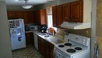 Oak cabinets, perfect for cottage or small kitchen