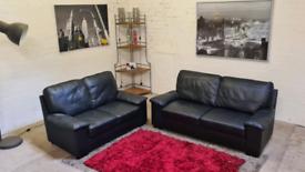 Black Leather 3&2 Seater Sofa Set
