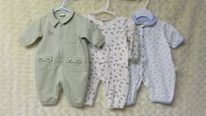 3 Baby Boys Brand Name Sleepers Excellent Size 0-3 Mths