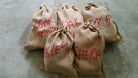 (5) canvas bags wood chunks for smoker bbqs apple cherry hickory