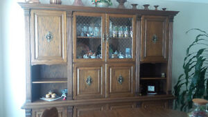 Custom Made Solid Oak Wood Hutch
