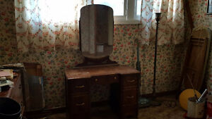 Antique Dresser with Mirror and wooden coaster wheels
