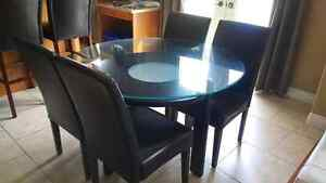 Glass Top and Hard Wood Dining Table Set
