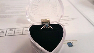 14k White Gold Blue Diamond Ring Sz 7 . $3000 Replacement Value