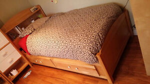 Captain bed - wood 2 drawers - Lit capitaine bois 2 tiroirs