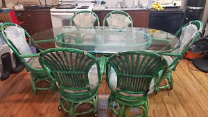 Rattan Dining set with 6 chairs