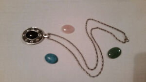 Silver chain and 4 pendants - $15