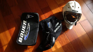 Hockey Goalie Blocker and Glove, Helmet, Stick
