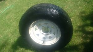Hercules ST225 75R15 Trailer Tire On White Spoke Rim (A1)