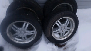 195 55 15 good year studded winter tires and rims