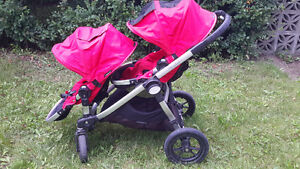 Poussette double rouge city select baby jogger