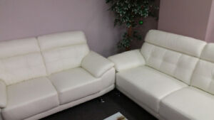 Leather Sofa and Love Seat  - white genuine leather