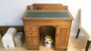 Antique Oak Writing Desk with Leather Insert