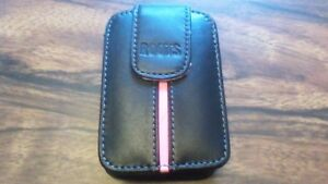 Roots Camera Case Leather Pink Stripe