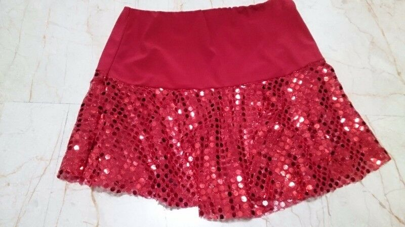 S$5.90 - RED SEQUINED SKIRT FOR GIRLS, AGED 4 - 10