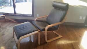 2 ikea poang chairs with ottomans