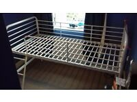 White metal mid sleeper bed with mattress and football tent