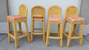 Rattan/Wicker Bar Stools -set of 4
