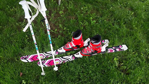 Kids skis with bindings, boots and poles