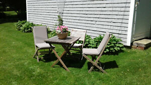 table and chairs for deck or garden.