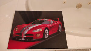 Dodge Viper GTS-R Picture on wooden board, Great Condition $40
