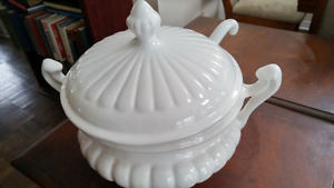 Beautiful large white porcelain soup Tureen with ladle
