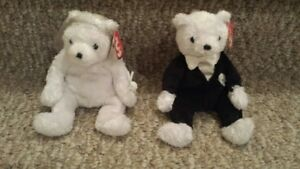 TY Beanie Babies Set ~ BRIDE & GROOM Wedding Bears ~ with tags