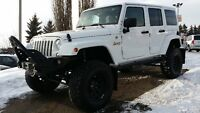 2014 JEEP WRANGLER SAHARA UNLIMITED LIFTED, BUMPER, WINCH, RIMS
