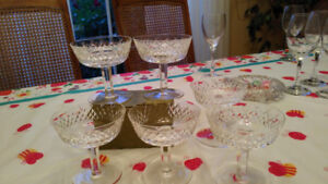 SET of 6 WATERFORD CRYSTAL CHAMPAGNE GLASSES