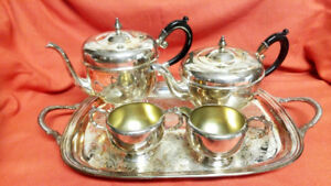 5 Pc Viking Silver Plate Tea Coffee Pot Creamer Sugar Tray