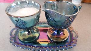FS: Sugar & Creamer & Tray - Glass Blue Carnival Harvest Grape