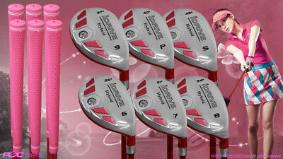 """Women's iDrive Golf Clubs All Ladies Pink Hybrid (6-SW) Set Lady """"L"""" Flex Clubs, used for sale  Shipping to Canada"""