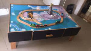 Train table, trains and tracks!