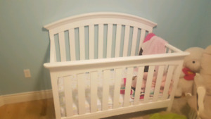 Crib and mattress and change table