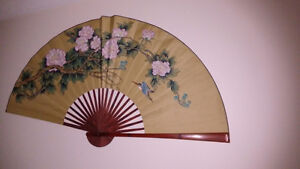 Two Large Decorative Chinese Fans for Hanging