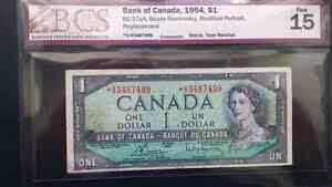 Very Scarce Replacement Banknote 1954 $1 Prefix *V/V