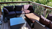 Patio set: loveseat, club chair, small table, and ottoman