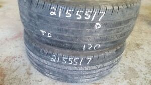 Pair of 2 Michelin Primacy MXV4 215/55R17 tires (50% tread life)