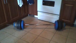 WEIDER WEIGHTS(80 lbs) and 72 inch BAR $40