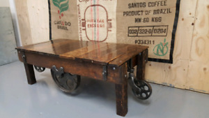 Antique factory cart coffee table