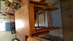 Antique solid wood dropleaf kitchen table