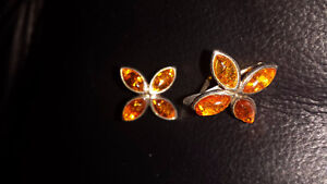 Earrings Gorgeous Amber-set in 925 Silver-Taxco Mexico