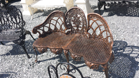 Beautiful cast and aluminium 3 seater garden benches