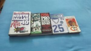 4 VARIOUS NFL ITEMS PACKAGE DEAL:MEDIA GUIDES,BOOKS,ETC.
