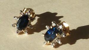 Blue Sapphires and Diamond Chips 14K Yellow Gold Earrings