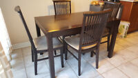 Dinning Table Set, real wood, seats 4 (Chairs included)