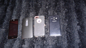 Samsung j3 ,Acer, and a Motorola  and a I phone 5s  for sale